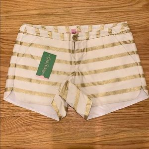 Pants - NWT Lilly Pulitzer Gold White Stripe Shorts